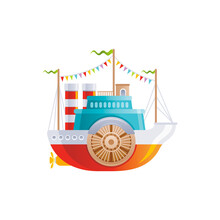 Cartoon Vintage Ship With Wheel Icon. Old Retro River Boat For Logo, Sea Travel, Cruise And Water Transport Design. Flat Vector Illustration Isolated On White Background.