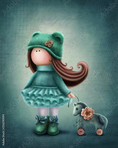 Valokuva Cute doll with a horse