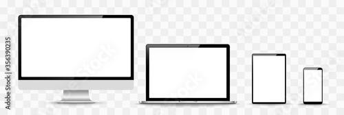 Obraz na plátně Set of compute, laptop, smartphone with empty screens