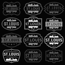 Saint Louis Missouri Skyline. Premium Quality Stamp Frames. Grunge Design. Icon Art Vector. Old Style Frames.