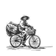 Person In Vietnamese Hat Cycling On Heavy Loaded Bicycle, Vector Hand Drawn Sketch