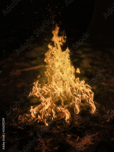 Fotomural Bonfire texture, Scenic landscape with bonfire flames burning in the dark night
