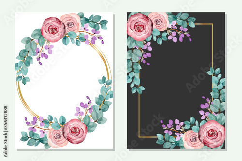 Fototapeta multipurpose gold frame with flowers and green leaves in a watercolor style