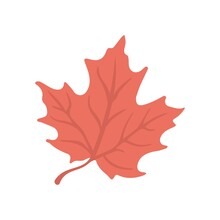 Red Maple Leaf Icon In Flat Design Style. Illustration For An Autumn Symbol, A Seasonal Themed Concept, The Fall Weather.