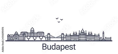 Obraz na plátně Linear banner of Budapest city