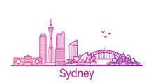 Sydney City Colored Gradient Line. All Sydney Buildings - Customizable Objects With Opacity Mask, So You Can Simple Change Composition And Background Fill. Line Art.