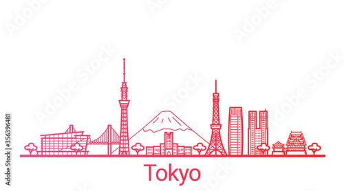 Valokuva Tokyo city colored gradient line