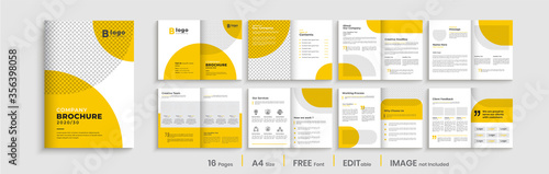Fototapeta Orange business brochure template layout design, 16 pages corporate brochure design, clean and simple orange shapes template layout. obraz
