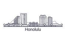Linear Banner Of Honolulu City...