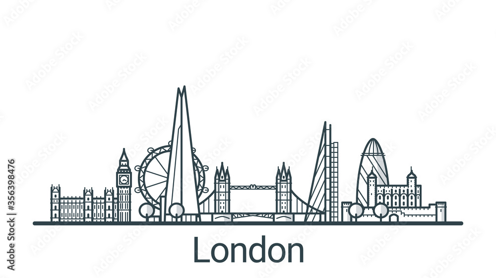 Fototapeta Linear banner of London city. All buildings - customizable different objects with background fill, so you can change composition for your project. Line art.