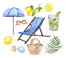 Watercolor Summer Beach Clipart. Hand Painted Striped Sling Chair, Umbrella, Sunglasses, Beach Straw Bag, Palm Leaf, Mojito, Lemons, Isolated On White Background. Vacation Vibes Illustration.