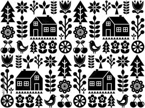 Canvas Print Nordic, Scandinavian inspired folk art seamless pattern - Finnish vector textile
