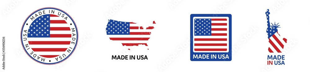 Fototapeta American National Holiday. Set of Made in USA icons. US Flags with American stars, stripes and national colors.