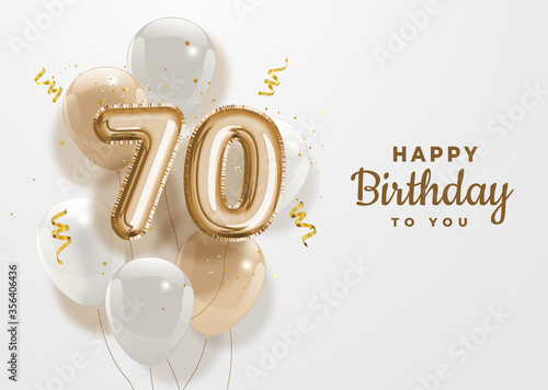 Fototapeta Happy 70th birthday gold foil balloon greeting background