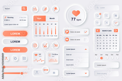 Fototapeta User interface elements for fitness workout mobile app. Fitness tracker, sport activity planner, heart rate monitor gui templates. Unique neumorphic ui ux design kit. Manage and navigation components. obraz
