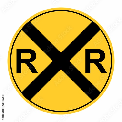 Valokuvatapetti Rail road crossing sign isolated on white background