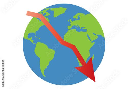 Planeta tierra con gráfica roja decreciendo por crisis. Wallpaper Mural