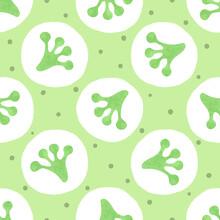 Seamless Green Polka Dot Pattern With Frog Footprints.
