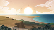 Sea Coast Landscape Vector Background. Sandy Tropical Beach With Rocks And Cliffs.
