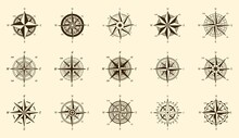 Compass Set. North And South Direction Measure On Isolated Engraving Labels, Vector Wind Rose Hand Drawn Icons