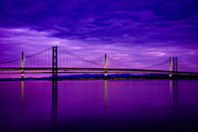 Queensferry Crossing Bridge Over The Firth Of Forth At Blue Hour From South Queensferry, Scotland.