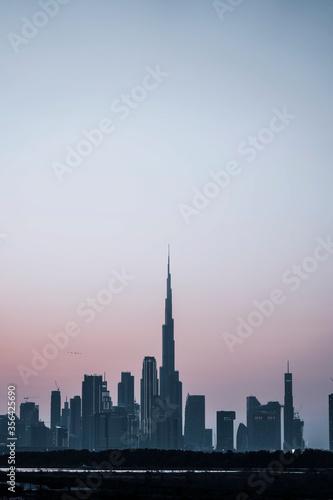 Fototapety, obrazy: Beautiful Dubai Skyline Silhouette during blue hour