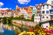 canvas print picture Travel in Germany . Beautiful floral colorful town Tubingen. Baden-wurttemberg