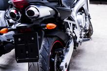 Closeup Back Of Sportbike In G...