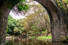 Park With Bridge Framed The Ri...