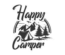 Happy Camper Vintage Vector Sign