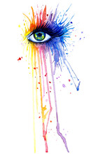 Illustration Of A Watercolor Female Eye With Colorful Splashes. Bright Emotional Image, Rainbow Colors.