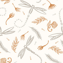 Seamless Background Dragonfly Gender Neutral Baby Pattern. Simple Whimsical Minimal Earthy 2 Tone Color. Kids Nursery Wallpaper Or Boho Insect Animal Fashion All Over Print.