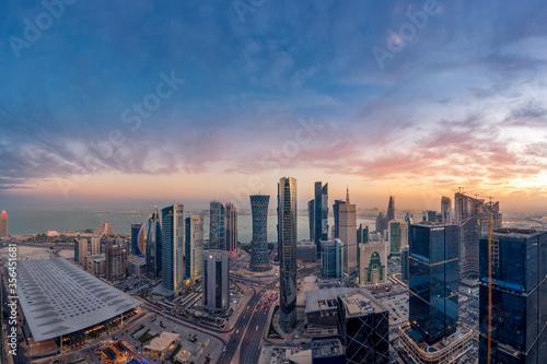 Obraz Aerial View of west bay area Doha City. Doha Buildings - fototapety do salonu