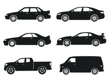 Car Type Icons Set. Vector Bla...
