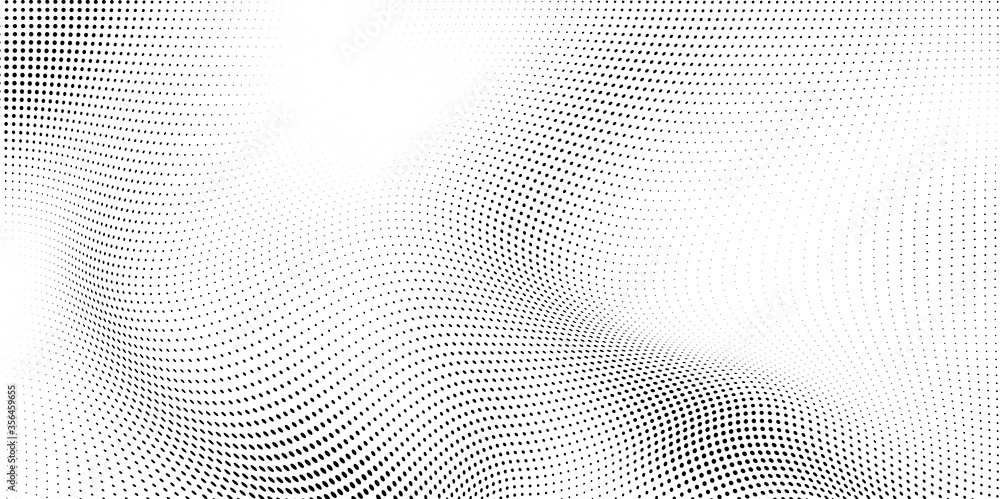 Fototapeta Abstract wave halftone black and white. Monochrome texture for printing on badges, posters, and business cards. Vintage pattern of dots randomly arranged