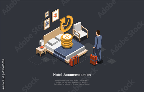 Fototapeta Hotel Accommodation Concept. Businessman Check In Or Check Out In A Hotel. Man Has Booked An Apartment With King Size Bed. Stay In Hotel On Business Trip Ot Vacation. Isometric 3D Vector Illustration obraz