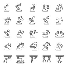 Industrial Robot, Icon Set. Mechanical Hydraulic Robotic Arm For Manufacturing, Linear Icons. Line With Editable Stroke