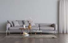 Living Room Interior With Grey...
