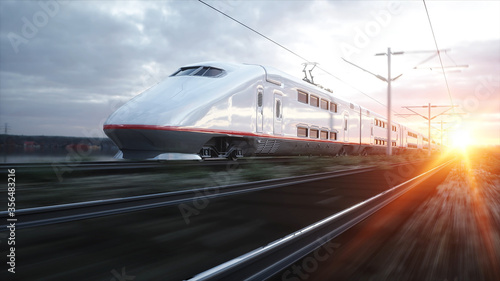 Obraz Electric passenger train. Very fast driving. journey and travel concept. 3d rendering. - fototapety do salonu