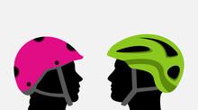 People In Bicycle Helmets