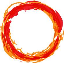 Fire Circle Vector Illustration. Flaming Orange