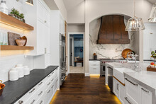 Kitchen In Luxury Home With La...