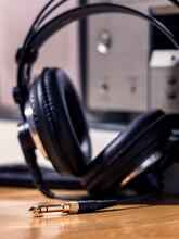 Black Hi-Fi Headphones With A ...