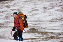 Man Hiking Up Helvellyn Mounta...