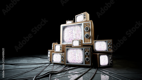 Fotomural heaps of retro, antique tv in dark room. 3d rendering.