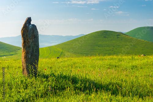 Fototapeta Stone stands in a field, landscape Armenian hills and fields in summer obraz