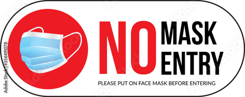 Photo Warning sign without a face mask no entry and keep distance
