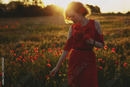 Fotomural Woman picking red flowers in a poppy field