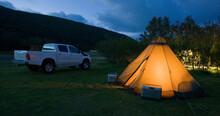 Illuminated Tent On Campsite I...
