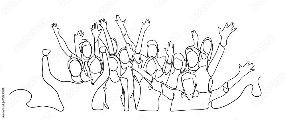 Fototapeta Continuous line drawing of happy cheerful crowd of people. Cheerful crowd cheering illustration. Hands up. Group of applause people continuous one line vector drawing. Audience silhouette hand drawn.